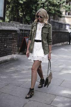 EJ Style | Khaki jacket, cream lace dress, Chloe Faye bag. Chloe Susanna boots, summer outfit