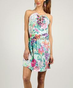 Look at this #zulilyfind! Pink & Green Floral Sleeveless Dress by Peace and Love #zulilyfinds