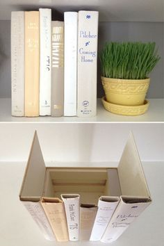 Secret book storage. All you do is cut the spines from a few books and leave one side on the end of each book. Then glue them to a wooden box.