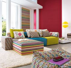 15 Rainbow Interiors Inspirations- I could live with this one, bright but coordinated