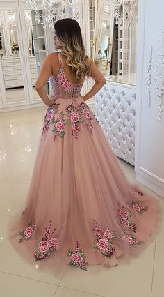 Broad Strap Floral Appliqued Long Prom Dresses Cheap A Line Evening Dress A Line Prom Dresses, Cheap Prom Dresses, Homecoming Dresses, Evening Dresses, Formal Dresses, Long Dresses, Floral Prom Dress Long, Prom Gowns, Pink Flower Girl Dresses