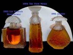 Lalique 1993 Les Feuilles 1994 Four Muses 1995 Jasmine Les Flacon Mini 3 PARFUMS