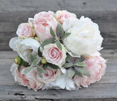 Soft pink wedding bouquet made with sage by Hollysflowershoppe