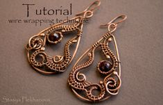 Tutorial on how to make the wire earrings in wire wrapping technique in English. The tutorial contains 67 photos of the process with description.