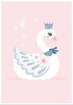 Swan by The Ink House. This elegant and whimsical swan print would make the sweetest addition to a little girls bedroom or nursery. Nursery Room Decor, Nursery Wall Art, Wall Art Decor, Wall Decorations, Bedroom Wall, Girls Bedroom, Tier Wallpaper, Animal Wallpaper, Art And Illustration