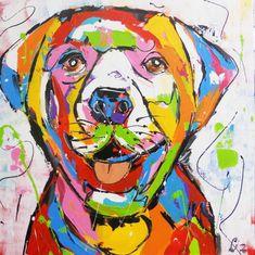 Labrador - www. Art Pop, Art Projects For Adults, Fauvism, Mini Paintings, Dog Art, Decoration, Fiber Art, Labrador, Art Photography
