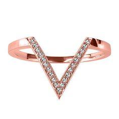 Rose Gold Diamond V Ring
