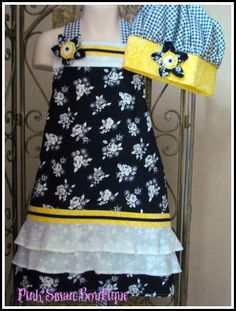 Yellow Apron Chef Hat Black White Eyelet Ruffled by PinkSwanBoutique, $30.00