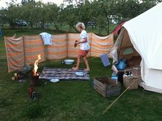 LOVE! Awesome idea for a roll up privacy fence for camping!!! - Adventure Time