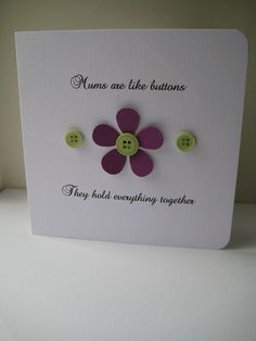 Handmade Mother's Day card buttons flowers mum by SunnyBunnyCraft, £3.00
