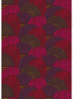 Marimekko Vuorilaakso Fabric Red/Brown