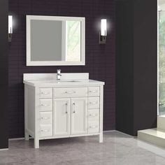 Studio Bathe - Calais 42 in. White Vanity with Mirror