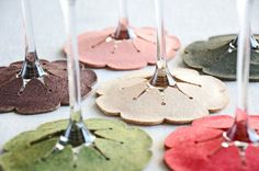 Use felt to make these wine glass coasters. | 24 Clever Things To Do With Wine Glasses
