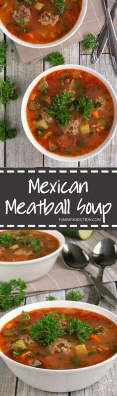 This Mexican meatball soup (Albondigas) is very hearty, quite easy to make and full of flavor - a warming dish for cold days! Mexican Meatball Soup, Mexican Meatballs, Veggie Meatballs, Meatball Recipes, Albondigas Soup Recipe Mexican, Meatball Stew, Parmesan Meatballs, Mexican Chicken, Mexican Food Recipes