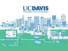 Illustration for major California university designed by Andrii Malinovskyi. Connect with them on Dribbble; University Of California Davis, California Travel Guide, City Illustration, World, Adobe, Cities, Design, Wallpaper, Drawings