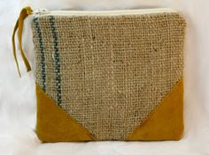Repurposed burlap coffee bag with mustard suede by SazeracStitches, $13.00