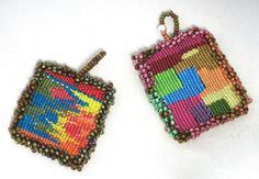 Tapestry Pendant. Could also be easily made as earrings.