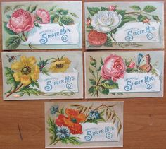 Singer Sewing Machine Victorian Trading Cards with Different Flowers