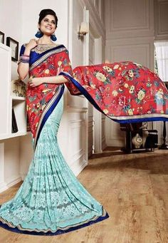 """""""A #lady's imagination is very rapid; it jumps from admiration to love, from #love to matrimony in a moment.""""  Red & Teal #Color Net / Silk / Georgette Designer #Saree"""