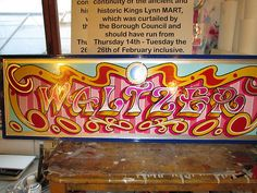 (NEW) Hand Painted Fairground Waltzer Sign 45 X 14 Inches Approx Circus Font, Sign Writing, Hand Painted Signs, Cool Fonts, Art School, Spinning, Wood Projects, Art Ideas, Lettering