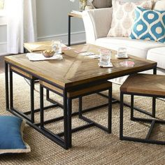 Coffee Table With Stools Underneath, Coffee Table With Seating, Home Coffee Tables, Table Decor Living Room, Living Room Seating, Table Furniture, Home Furniture, Vintage Home Decor, Diy Home Decor