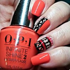 Get this Aztec inspired nail art for your nails using the OPI Infinite Shine System. In 3 easy steps, you can make your mani last for up to 10 days without the need for a retouch.