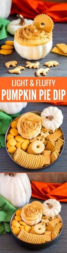 Pumpkin pie dip is light, fluffy and scrumptious! This easy no-bake recipe is perfect for fall potlucks and parties. Serve with fruit, cookies and crackers. Dessert Dips, Köstliche Desserts, Delicious Desserts, Dessert Recipes, Yummy Food, Potluck Recipes, Appetizer Recipes, Dip Appetizers, Appetizer Ideas