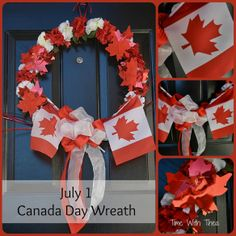 Today Is Canada Day! ~ Wreath made for Canada Day using red and white silk carnations, red foil maple leaves, Canadian flags and red and white sheer wire edge ribbon. Happy Birthday Canada, Happy Canada Day, Seasonal Decor, Holiday Decor, Holiday Wreaths, Holiday Crafts, Holiday Ideas, Diy Wreath, Wreath Making