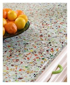 love these recycled glass countertops by MariaVictoria