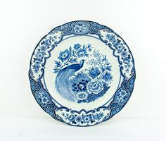 Blue and white peacock china plate