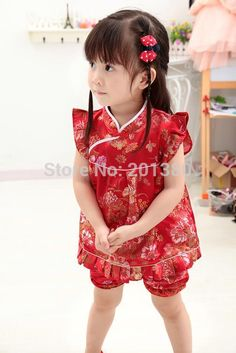 Floral Qipao Children's Sets New Year Chinese baby girls dresses short pants cheongsam outfits