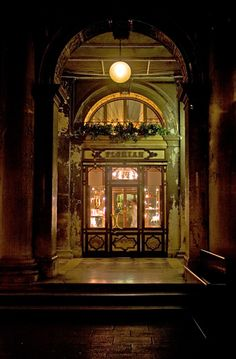 Rita Crane Photography: Italy / Venice / Florian / night / architecture / photography / beautiful / history / Caffe Florian at Night, Venice Coffee Shops, Cafe Restaurant, Worldwide Photography, In Loco, Italy Art, Old Wall, Venice Italy, Venice Cafe, Around The Worlds