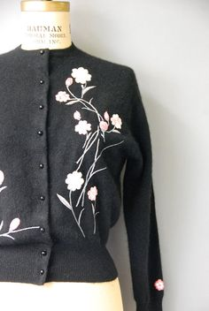 1950's Black Cashmere Cardigan//Embroidered by CapsuleVintage