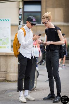 Models off duty Street Style Street Fashion Streetsnaps by STYLEDUMONDE Street Style Fashion Blog