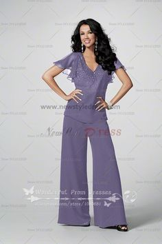 lilac Chiffon mother of the wedding party pants suits with Short Sleeves nmo-049
