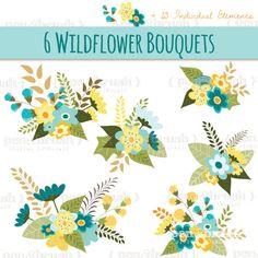 Flower Bouquet Clip Art // Floral Arrangement // Vector EPS Editable // Flowers Leaves Twigs // Blue Yellow Green // Photoshop Brush Stamp