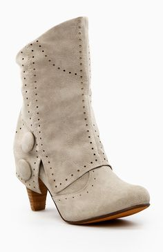 Faux suede perforated fold over boots with wooden-like heel.