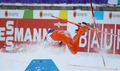 February 25 2017 - 'World's worst skier' Venezuelan Adrian Solano stumbles at @Lahti2017 in Finland, having never trained on snow before