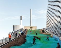 Copenhill, the green ski slope atop BIG's Amager Bakke waste-to-energy plant in Copenhagen, is shown in new photographs by Rasmus Hjortshøj. Snowboarding, Skiing, Waste To Energy, Ski Rental, High Building, Ski Slopes, Climbing Wall, Wakeboarding, Hiking Trails