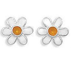 SALE PRICED $14.86 with FREE SHIPPING! CHILD FLOWER STUD EARRING IN SOLID .925 STERLING SILVER, LEAD & NICKEL FREE, Sale ends Sunday Dec 7th!