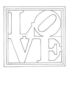 Colouring page of Robert Indiana's famous painting/sculpture - LOVE