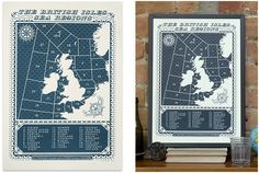 """""""Viking"""" by James Brown. Wonderful screen print depicting the sea regions surrounding the British Isles. Aside being gorgeous, it's a kind of negative-space mapping."""