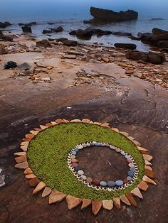 Stunning Circular Land Art Made of Rocks and Leaves