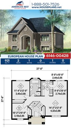 Featuring 921 sq. ft., Plan 6146-00428 offers 2 bedrooms, 1 bathroom, an open concept, and lots of large windows. Visit our website to learn more. European Plan, European House Plans, Old World Charm, Large Windows, Building Materials, Open Concept, Square Feet, Countryside, Facade