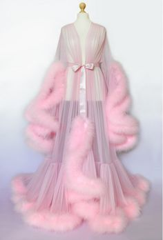 Fantastic transparent Sexy Lingerie with beautiful pink feathers. Buy online Exclusive Robe from Erminel. Lingerie Photos, Pretty Lingerie, Bridal Robes, Bridal Wedding Dresses, Fancy Robes, Cute Sleepwear, Long Gown Dress, Gown Photos, Feather Dress