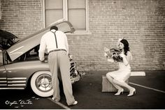 Broken Car Vintage Engagement Session in Texas by Clayton Austin - Super cute! Couple Photography, Engagement Photography, Engagement Session, Photography Editing, Portrait Photography, Wedding Photography, Military Couple Pictures, Pin Up, Groom And Groomsmen Attire