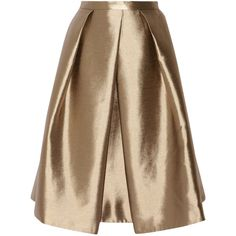 Tibi Halcyon metallic pleated taffeta skirt ($220) ❤ liked on Polyvore featuring skirts, brass, tibi, below the knee skirts, knee length pleated skirt, brown pleated skirt and below knee skirts