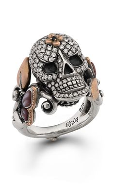 Roses Never Die Skull Ring – Diamond, Black Sapphire & Pink Mother of – Barbara Bixby