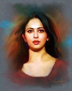 digital painting Charcoal Art, Digital Paintings, Bollywood Actress, Mona Lisa, Sketch, Actresses, Artwork, Sketch Drawing, Female Actresses
