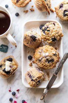 earl grey blueberry muffins recipe via laurenconrad.com